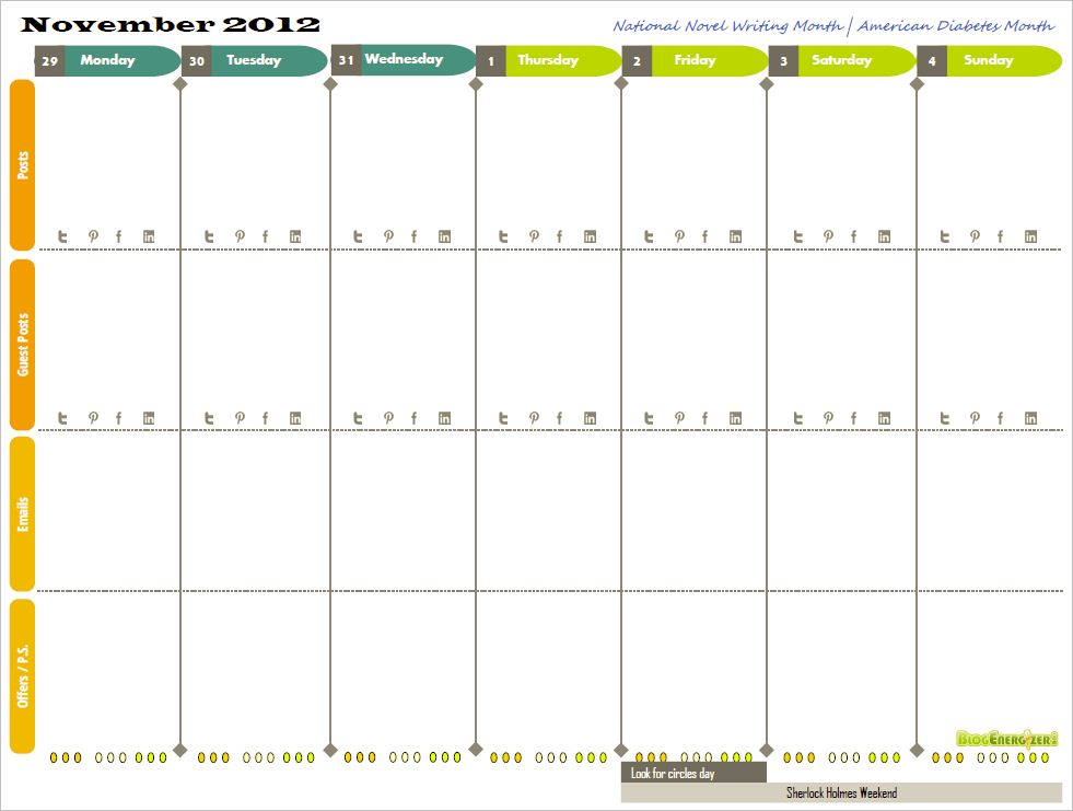 Free 2014 Printable Weekly Calendar For Bloggers